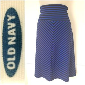 Old Navy Black & Blue Stripe Skirt Medium